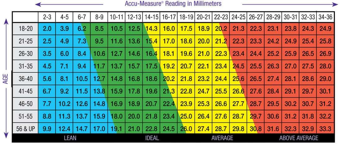 Accumeasure Body Fat Percentage Chart
